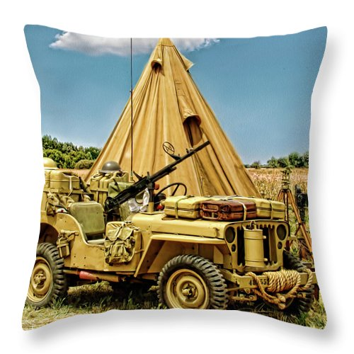 Jeep Throw Pillow featuring the photograph In The Field by Dale Jackson