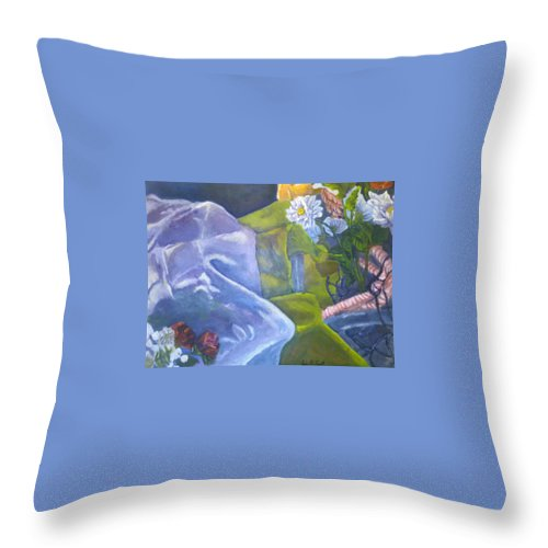 Flowers Throw Pillow featuring the painting In The Garden by Jessica Faulk