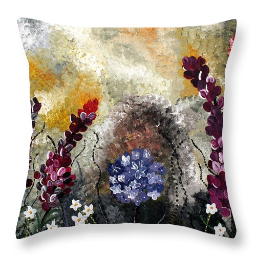 Garden Throw Pillow featuring the painting In The Garden by Wendy May