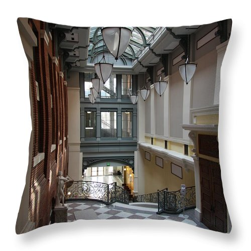 Hallway Throw Pillow featuring the photograph In The Hallway - Peabody Library by Christiane Schulze Art And Photography