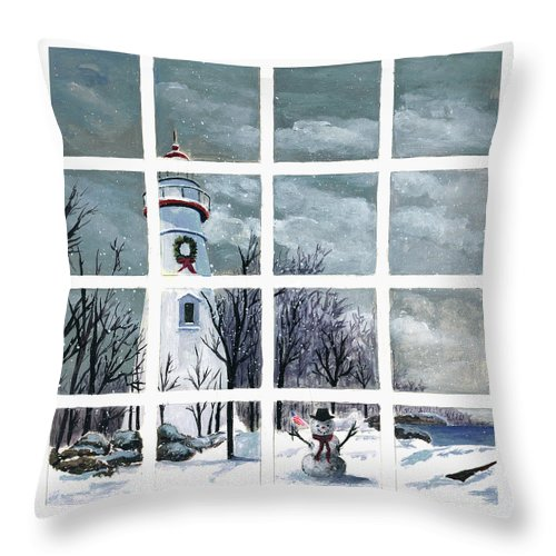 Christmas Lighthouse Painting Throw Pillow featuring the painting In The Holiday Spirit At Marblehead by Terri Meyer
