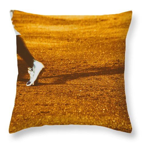 In The Infield Throw Pillow featuring the photograph In The Infield by Karol Livote