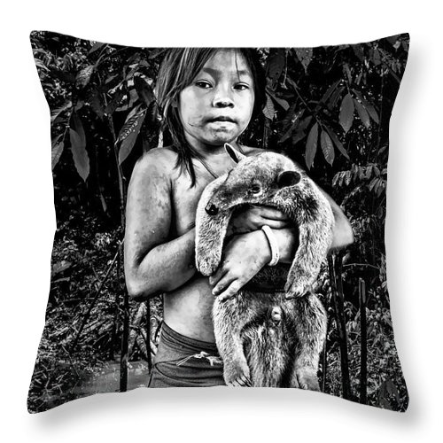 Amazon Throw Pillow featuring the photograph Girl With Oso Dormilon by Maria Coulson