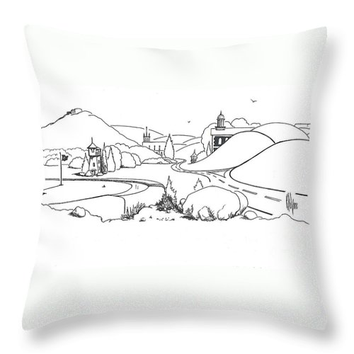 In The Land Of Brigadoon Throw Pillow featuring the drawing In The Land Of Brigadoon by Kip DeVore