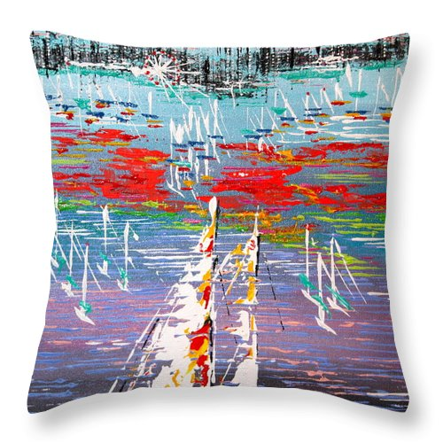 Water Throw Pillow featuring the painting In The Lead - Sold by George Riney