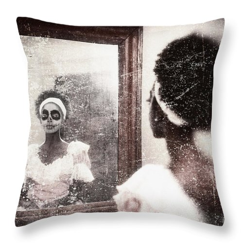 Woman Throw Pillow featuring the photograph In The Mirror by Sharon Dominick