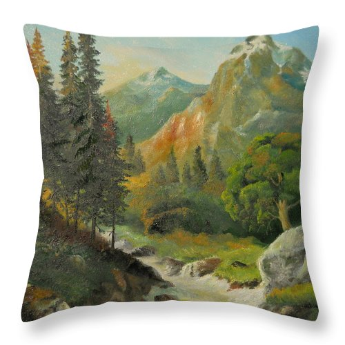 Autumn Throw Pillow featuring the painting In The Mountains by Sorin Apostolescu