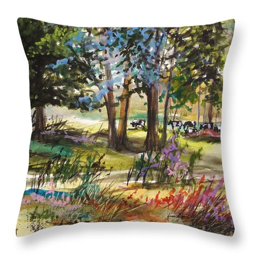 In The Pasture Throw Pillow featuring the painting In The Pasture by John Williams