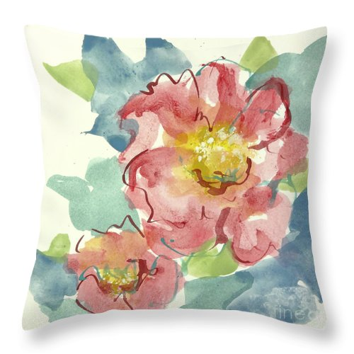 Watercolor Paintings Throw Pillow featuring the painting In The Pink II by Chris Paschke