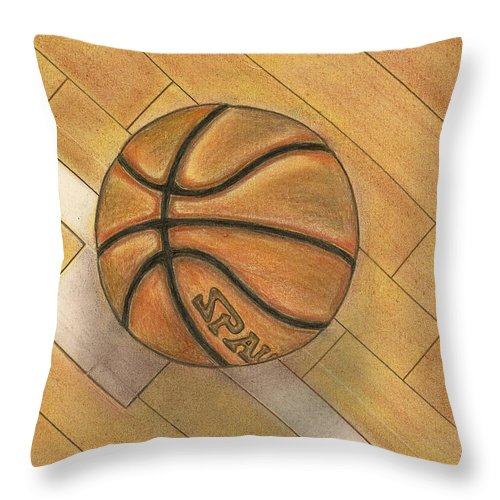 Basketball Throw Pillow featuring the drawing In The Post by Troy Levesque