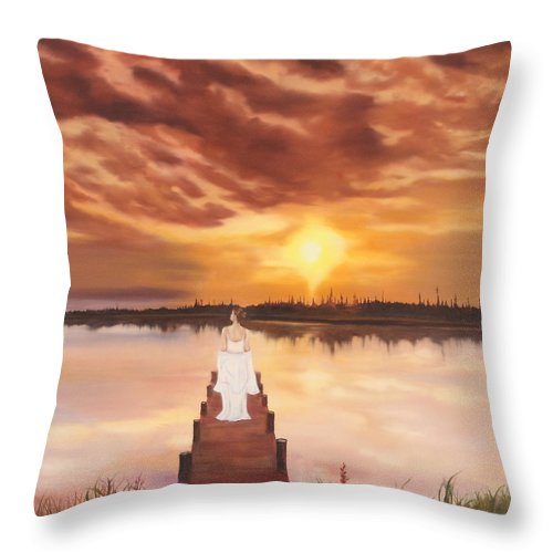 Landscape Throw Pillow featuring the painting In The Stillness by Jeanette Sthamann