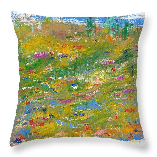 Valley Throw Pillow featuring the painting In The Valley by Bjorn Sjogren