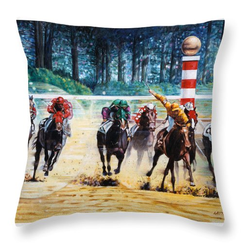 Horses Throw Pillow featuring the painting In the Winner's Circle by John Lautermilch