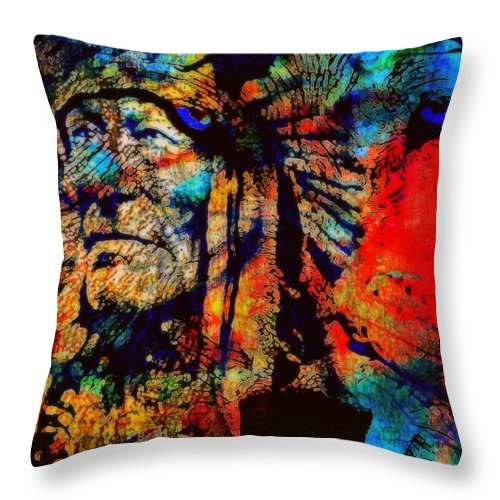 Native American Throw Pillow featuring the mixed media In Trance With Wolf by Wendie Busig-Kohn