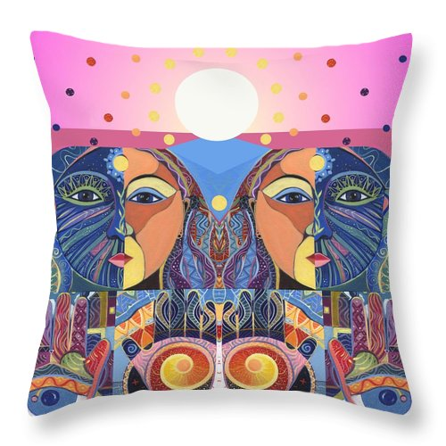 Figurative Abstraction Throw Pillow featuring the painting In Unity And Harmony by Helena Tiainen
