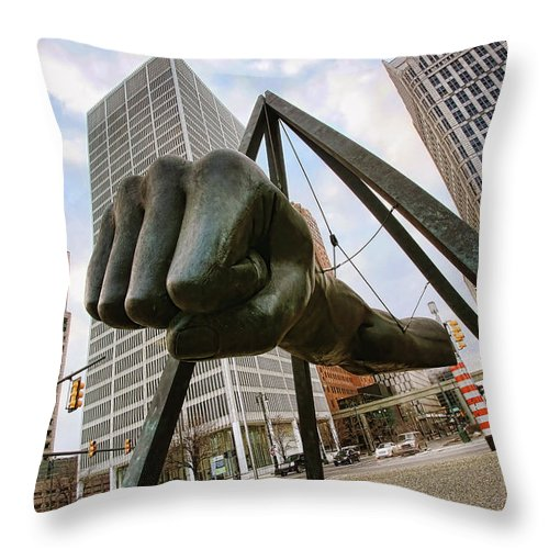 Joe Throw Pillow featuring the photograph In Your Face - Joe Louis Fist Statue - Detroit Michigan by Gordon Dean II