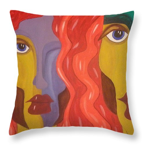 Abstract Painting Throw Pillow featuring the painting In Your Shadow II by Catherine Harms