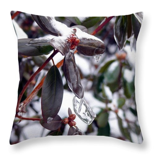 Red Berries Throw Pillow featuring the photograph Incased In Ice by Tracy Winter
