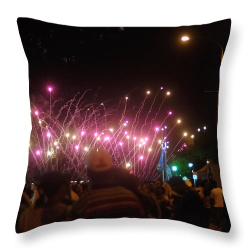 Penn's Landing Throw Pillow featuring the photograph Independence Day Week Fireworks by Berry Edwards