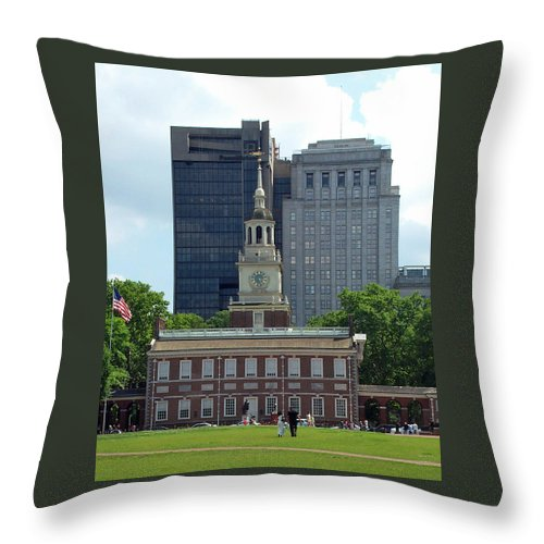 Historic Throw Pillow featuring the photograph Independence Hall by Barbara McDevitt