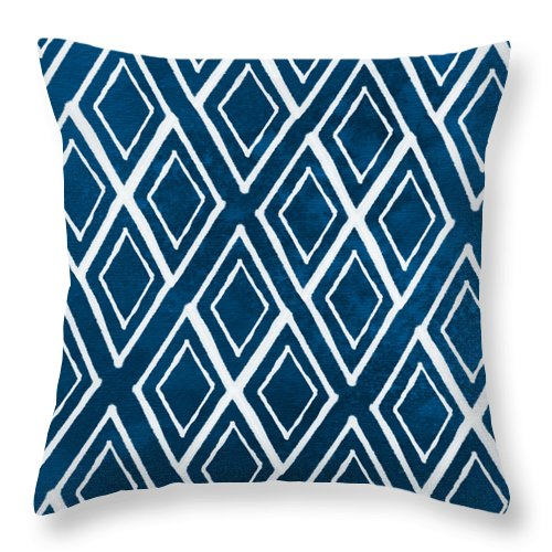 Indigo And White Throw Pillow featuring the painting Indgo And White Diamonds Large by Linda Woods
