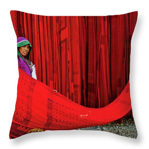 Expertise Throw Pillow featuring the photograph India, Rajasthan, Sari Factory by Tuul & Bruno Morandi