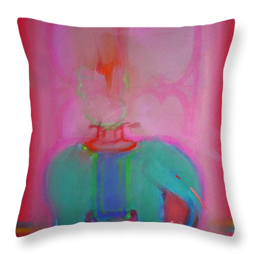 Elephant Throw Pillow featuring the painting Indian Elephant by Charles Stuart
