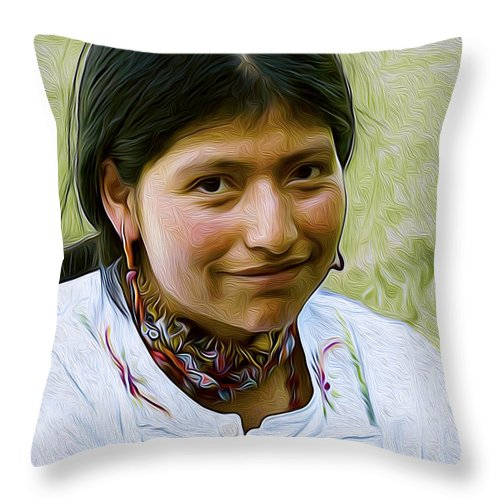 First American Festival Throw Pillow featuring the digital art Indian Maid by Joe Paradis