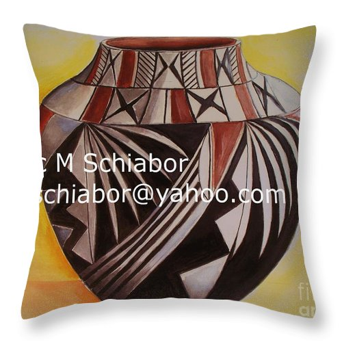 Indian Throw Pillow featuring the painting Indian Pottery by Eric Schiabor