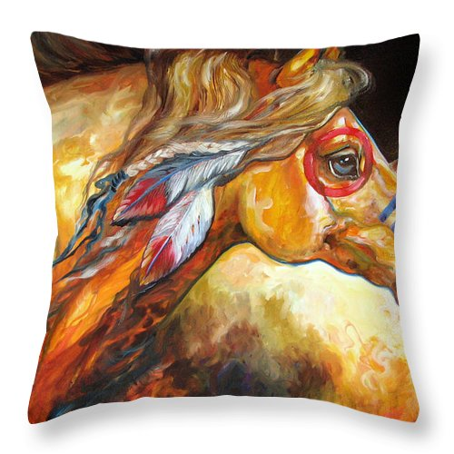 Horse Throw Pillow featuring the painting Indian War Horse Golden Sun by Marcia Baldwin