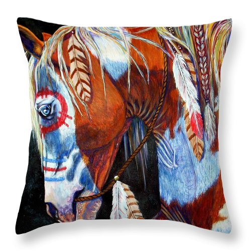 Indian Throw Pillow featuring the painting Indian War Pony by Amanda Hukill