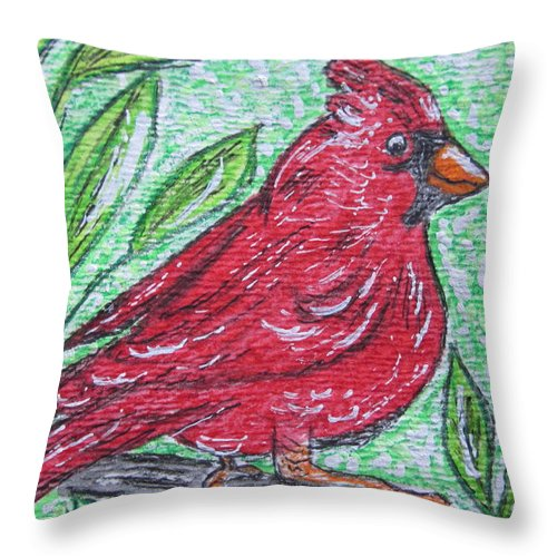 Indiana Throw Pillow featuring the painting Indiana Cardinal Redbird by Kathy Marrs Chandler