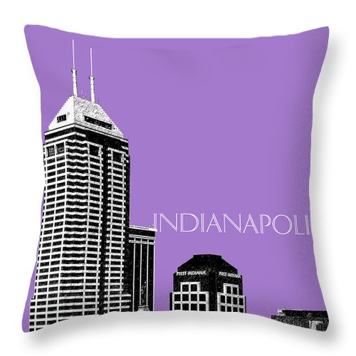 Architecture Throw Pillow featuring the digital art Indianapolis Indiana Skyline - Violet by DB Artist