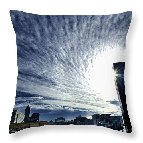 Indianapolis City Throw Pillow featuring the photograph Indianapolis Sky by The Noeto
