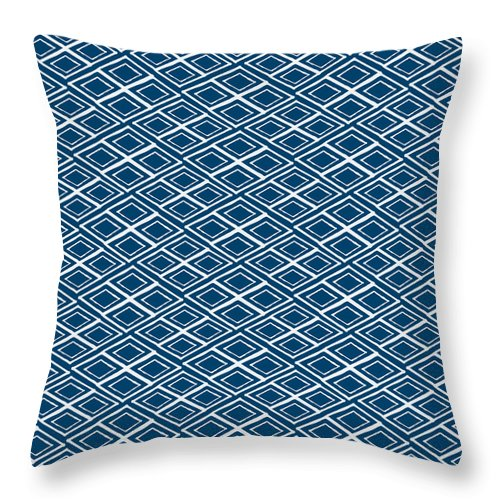Indigo And White Throw Pillow featuring the painting Indigo and White Small Diamonds- Pattern by Linda Woods