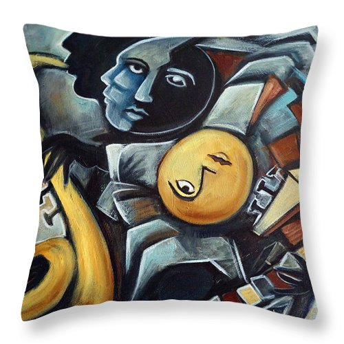 Cubism Throw Pillow featuring the painting Indigo Blues by Valerie Vescovi