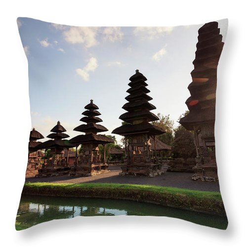 Shadow Throw Pillow featuring the photograph Indonesia, Bali, Taman Ayun Temple by Michele Falzone