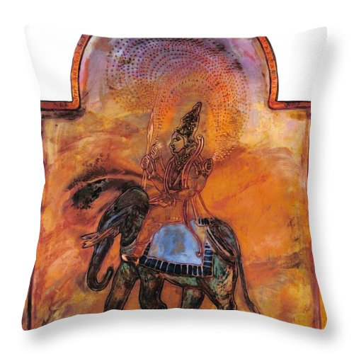 Illumination Throw Pillow featuring the painting Indra And The Jeweled Net by Shahna Lax