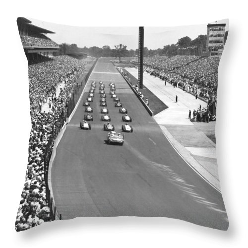 1950's Throw Pillow featuring the photograph Indy 500 Parade Lap by Underwood Archives