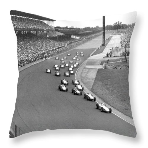 1950's Throw Pillow featuring the photograph Indy 500 Race Start by Underwood Archives