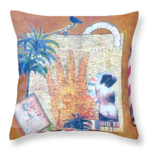 Judy Tolley Throw Pillow featuring the mixed media Inept Love Letter by Judy Tolley