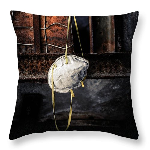 Mask Throw Pillow featuring the photograph Infection by Trish Mistric