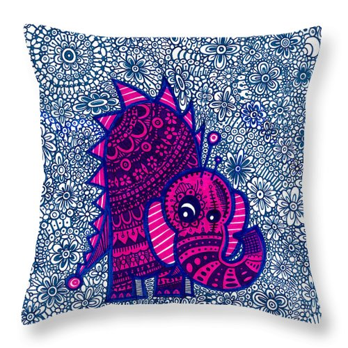Josh Brown Throw Pillow featuring the drawing Infinite Pachyderm by Josh Brown