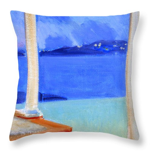 Infinity Pool Throw Pillow featuring the painting Infinity Pool At Twilight by Candace Lovely