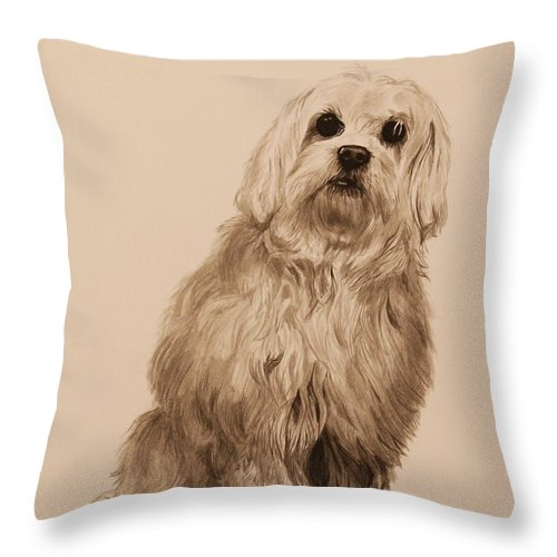 Dog Throw Pillow featuring the painting Ink Dog by Michelle Miron-Rebbe