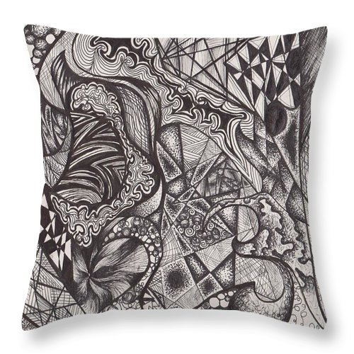 Abstract Throw Pillow featuring the drawing Ink Unfolding by Amanda Van Hoesen