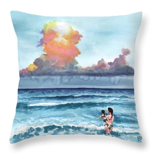 Beach Throw Pillow featuring the painting Inktobe 27 Storm Coming by Ken Meyer