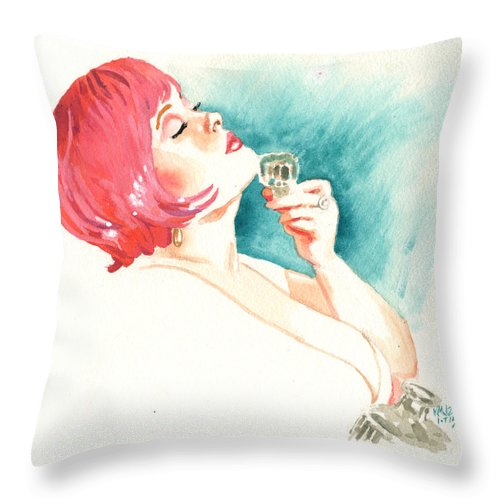 Woman Throw Pillow featuring the painting Inktober 15 Pink by Ken Meyer