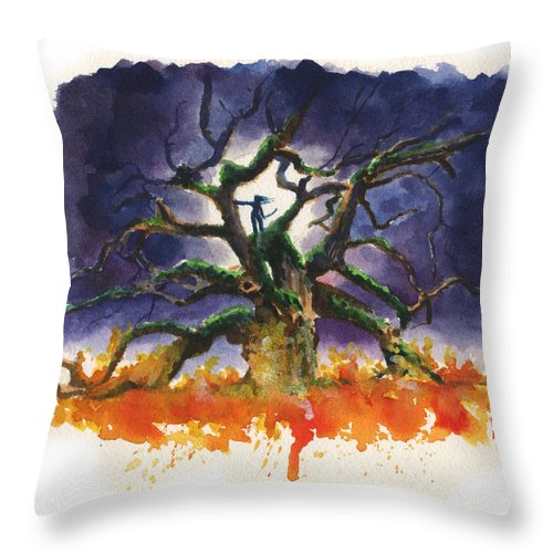 Tree Throw Pillow featuring the painting Inktober 19 Burning Tree by Ken Meyer