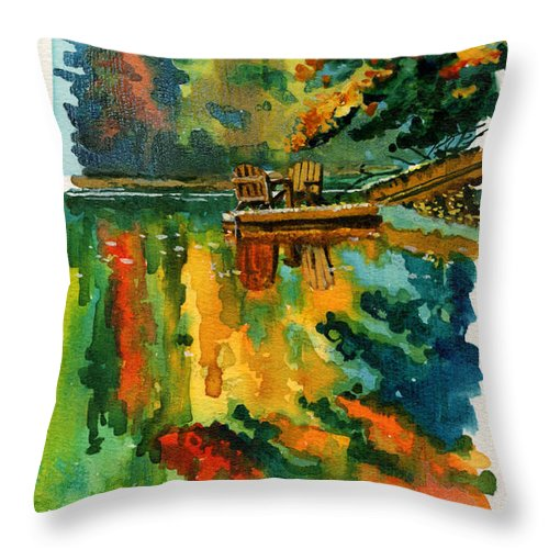 Throw Pillow featuring the painting Inktober 21 Color Field by Ken Meyer